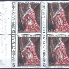 Sellos: FRANCIA 1973. YVERT 1766. CARDINAL DE RICHELIEU, DE PHILIPPE DE CHAMPAIGNE (BLOQUE DE 4). MNH **. Lote 288448573