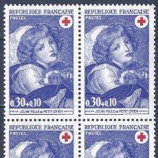 Sellos: FRANCIA 1971. YVERT 1700. JEUNE FILLE AU PETIT CHIEN (BLOQUE DE 4). MNH **. Lote 288449548