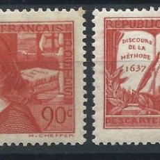 Sellos: FRANCE N°341/42* (MH) 1937 - RENÉ DESCARTES. Lote 297152028