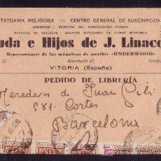 Sellos: ESPAÑA. (CAT. 815 (10)).1940. T.P. PUBLICIDAD DE VITORIA. MUY RARO FRANQUEO DE 10 SELLOS. MAGNÍFICA.. Lote 24403590