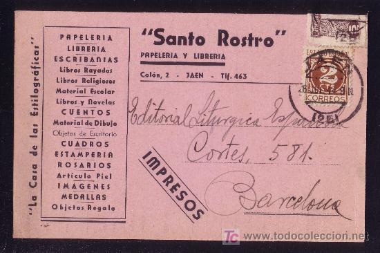 ESPAÑA.(CAT.815/GÁLVEZ 90). 1944. T. P. IMPRESOS DE JAÉN. 2 C. CIFRAS Y BENÉFICO. MUY BONITA Y RARA. (Sellos - España - Estado Español - De 1.936 a 1.949 - Cartas)