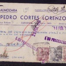 Sellos: ESPAÑA.(CAT. 923 (2), 927). 1948.T.P. CERT. REEMBOLSO DE ZARAGOZA. CORREO DEVUELTO.MAGNÍFICA Y RARA.. Lote 25358693