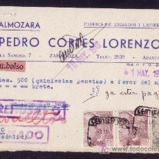 Sellos: ESPAÑA.(CAT.923 (2),927).1948.T.P.CERTF.REEMBOLSO DE ZARAGOZA.CORREO DEVUELTO.MUY INTERESANTE Y RARA. Lote 23238696