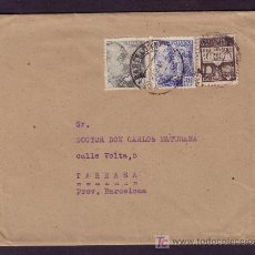 Sellos: ESPAÑA. (CAT. 924, 925, AYTO. 37).1943. SOBRE DE BARCELONA A TARRASA. MUY BONITO FRANQUEO.. Lote 26234042