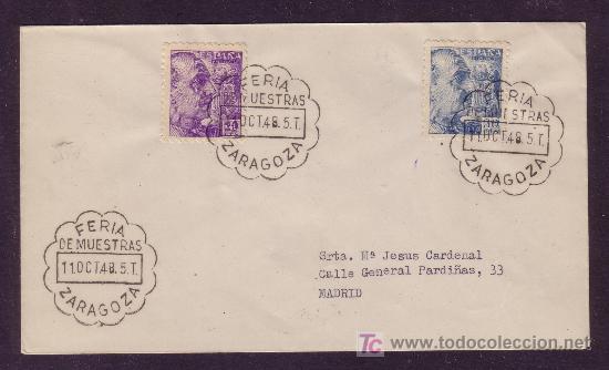 ESPAÑA.(CAT.922,924).1948.SOBRE DE ZARAGOZA.MAT.*FERIA/DE MUESTRAS/ZARAGOZA*.DORSO *MADRID/CARTERIA* (Sellos - España - Estado Español - De 1.936 a 1.949 - Cartas)