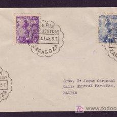 Sellos: ESPAÑA.(CAT.922,924).1948.SOBRE DE ZARAGOZA.MAT.*FERIA/DE MUESTRAS/ZARAGOZA*.DORSO *MADRID/CARTERIA*. Lote 25405582