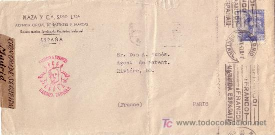 ESPAÑA. (CAT. 929). 1940. SOBRE DE MADRID A PARÍS .70 CTS. MARCA DE FALANGE EN ROJO. MAGNÍFICA. (Sellos - España - Estado Español - De 1.936 a 1.949 - Cartas)