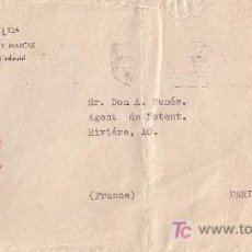 Sellos: ESPAÑA. (CAT. 929). 1940. SOBRE DE MADRID A PARIS.70 CTS. MARCA DE FALANGE EN ROJO. MAGNÍFICA.. Lote 25647088
