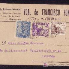 Sellos: ESPAÑA. (CAT. 916,1049,1062). 1949. T. P. DE AYERBE (HUESCA) A ZARAGOZA. MUY BONITO FRANQUEO.. Lote 23015449