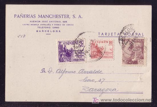 ESPAÑA. (CAT. 917, 923, 1062). 1949. T. P. DE BARCELONA A ZARAGOZA. BONITO FRANQUEO. (Sellos - España - Estado Español - De 1.936 a 1.949 - Cartas)