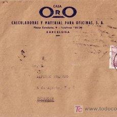 Sellos: ESPAÑA.(CAT. 923).1946.SOBRE DE BARCELONA A ZARAGOZA. PAREJA DE 25 C. FRANCO PERFIL. MAT. BARCELONA.. Lote 25062107