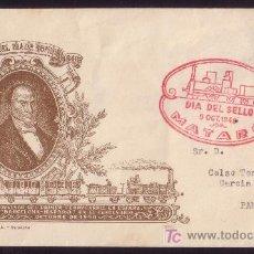Sellos: ESPAÑA. (CAT. 1037). 1948. SOBRE DE MATARÓ (BARCELONA). MAT. 1ER. FERROCARRIL EN ESPAÑA. MAGNÍFICA.. Lote 26859009