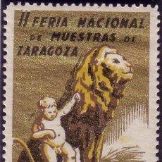 Sellos: ESPAÑA. VIÑETA. *II FERIA NACIONAL DE MUESTRAS DE ZARAGOZA/DEL 1 AL 15 OCT. 1942*. RARA Y DE LUJO. Lote 25879179