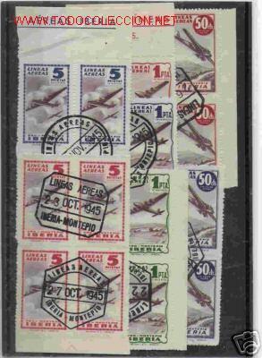 VIÑETAS CIRCULADAS DE IBERIA EN BLOQUE DE CUATRO DE 1945 (Sellos - España - Estado Español - De 1.936 a 1.949 - Usados)