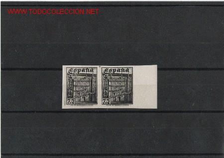 PRECIOSA PAREJA EN PRUEBA DE COLOR DE LA UNIVERSIDAD DE SALAMANCA EN NEGRO (Sellos - España - Estado Español - De 1.936 a 1.949 - Usados)