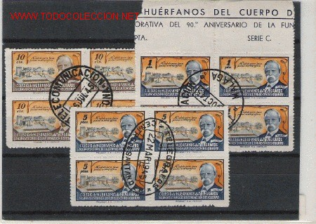 PRECIOSA SERIE EN BLOQUE DE CUATRO DEL COLEGIO DE HUERFANOS DE TELEGRAFOS LOS DE LA FOTO (Sellos - España - Estado Español - De 1.936 a 1.949 - Usados)