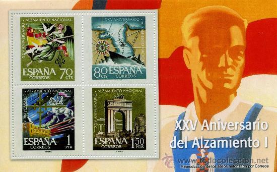REPRODUCCIONES AUTORIZADAS POR CORREOS DE 4 SELLOS DEL ( XXV ANIVERSARIO DEL ALZAMIENTO) (Sellos - España - Estado Español - De 1.936 a 1.949 - Usados)