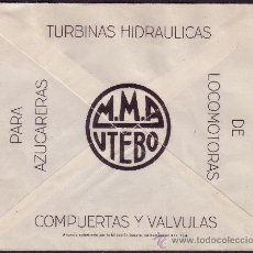 Sellos: ESPAÑA.(CAT.927).1945.SOBRE PUBLICIDAD *M.M.A./UTEBO* DE UTEBO (ZARAGOZA) A BARCELONA. 50 C. BONITO.. Lote 25765056