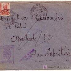 Sellos: CARTA DE TOLEDO A S. SEBASTIAN, FRANQUEADA CON 823 Y CENSURA MILITAR T 25.3 VIOLETA.. Lote 12977618
