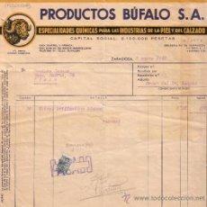 Sellos: ZARAGOZA. 1941. FACTURA PUBLICITARIA REINTEGRADA CON SELLO FISCAL BISECTADO. MAGNÍFICA Y MUY RARA.. Lote 27597589