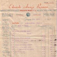 Sellos: ESPAÑA. ZARAGOZA. 1942. FACTURA REINTEGRADA CON SELLO FISCAL. MAGNÍFICA.. Lote 24149139
