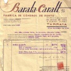 Sellos: ESPAÑA. TARRASA (BARCELONA). 1942. FACTURA REINTEGRADA CON SELLO FISCAL. MAGNÍFICA.. Lote 24328144