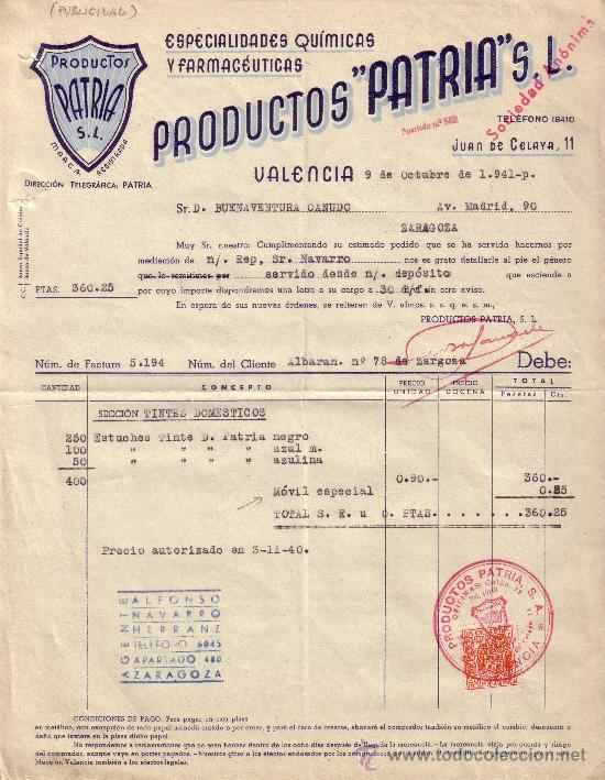 ESPAÑA. VALENCIA. 1941. FACTURA REINTEGRADA CON SELLO FISCAL. MAGNÍFICA. (Sellos - España - Estado Español - De 1.936 a 1.949 - Cartas)