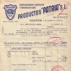Sellos: ESPAÑA. VALENCIA. 1941. FACTURA REINTEGRADA CON SELLO FISCAL. MAGNÍFICA.. Lote 24517380