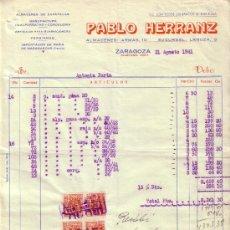 Sellos: ZARAGOZA. 1941. FACTURA REINTEGRADA CON CUATRO SELLOS FISCALES. MAGNÍFICA Y RARA.. Lote 23867326