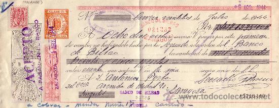 CERVERA DEL RÍO ALHAMA (LOGROÑO). 1944. LETRA DE CAMBIO REINTEGRADA CON SELLO FISCAL. MAGNÍFICA. (Sellos - España - Estado Español - De 1.936 a 1.949 - Cartas)