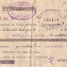 Sellos: ESPAÑA. PATERNA (VALENCIA). 1941. LETRA DE CAMBIO REINTEGRADA CON SELLO FISCAL. MAGNÍFICA.. Lote 25018355