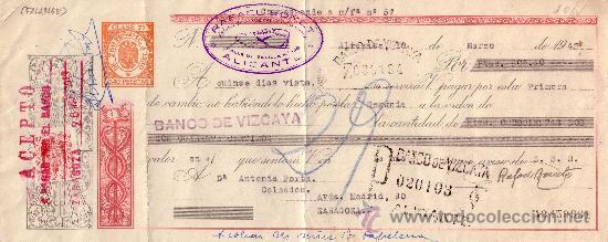 ESPAÑA. ALICANTE. 1943. LETRA DE CAMBIO REINTEGRADA CON SELLO FISCAL. MUY BONITA. (Sellos - España - Estado Español - De 1.936 a 1.949 - Cartas)