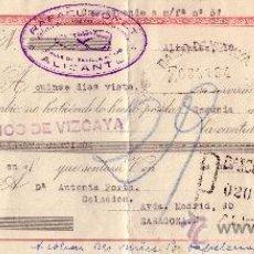 Sellos: ESPAÑA. ALICANTE. 1943. LETRA DE CAMBIO REINTEGRADA CON SELLO FISCAL. MUY BONITA.. Lote 25018391