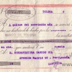 Sellos: ESPAÑA. TOLOSA (GUIPÚZCOA). 1941. LETRA DE CAMBIO REINTEGRADA CON SELLO FISCAL. MAGNÍFICA.. Lote 26679747