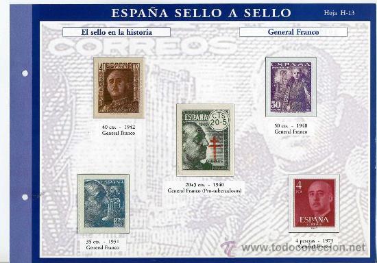 HOJA CON REPRODUCCIONES AUTORIZADA POR CORREOS DEL GENERAL FRANCO +ENTIENDA (Sellos - España - Estado Español - De 1.936 a 1.949 - Usados)