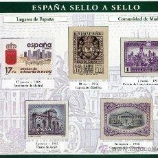 Sellos: HOJA CON REPRODUCCIONES AUTORIZADA POR CORREOS DE LUGARES DE LA COMUNIDAD DE MADRID +ENTIENDA. Lote 13636734