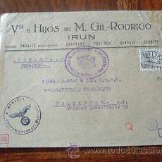 Sellos: ESPAÑA SOBRE, CENSURA IRUN CARTA A FRANKFURT 1941. Lote 26879839