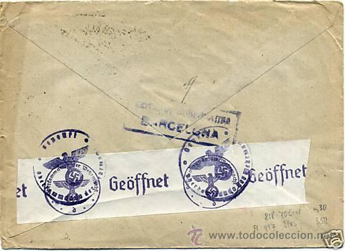 CARTA 1941 SELLO EDIFIL 929, 825, 816, CENSURA MILITAR DE BARCELONA , CENSURA MILITAR ALEMANA (Sellos - España - Estado Español - De 1.936 a 1.949 - Cartas)