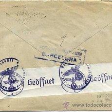 Sellos: CARTA 1941 SELLO EDIFIL 929, 825, 816, CENSURA MILITAR DE BARCELONA , CENSURA MILITAR ALEMANA. Lote 27370361