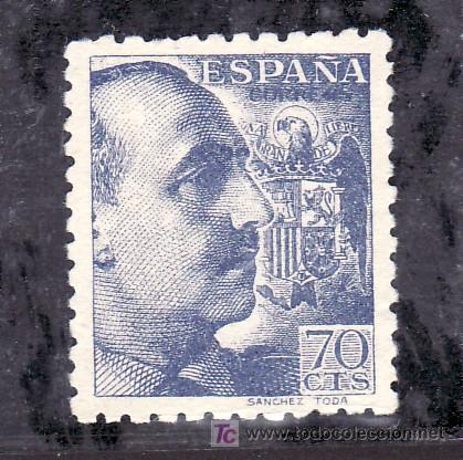 ESPAÑA 929T SIN GOMA, VARIEDAD CON PIE DE IMPRENTA, GENERAL FRANCO (Sellos - España - Estado Español - De 1.936 a 1.949 - Usados)