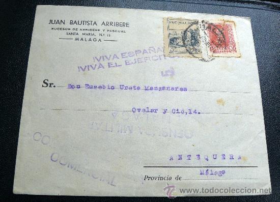 ESPAÑA GUERRA CIVIL CARTA DE MÁLAGA A ANTEQUERA CESURA DE MÁLAGA. PRECIOSA (Sellos - España - Estado Español - De 1.936 a 1.949 - Cartas)