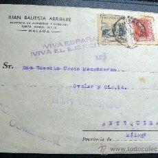 Sellos: ESPAÑA GUERRA CIVIL CARTA DE MÁLAGA A ANTEQUERA CESURA DE MÁLAGA. PRECIOSA. Lote 26475573