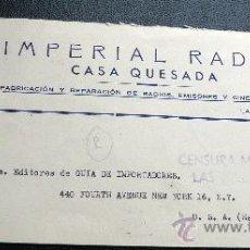 Sellos: ESPAÑA GUERRA CIVIL CARTA DE LAS PALMAS A USA CESURA DE LAS PALMAS. Lote 26447134