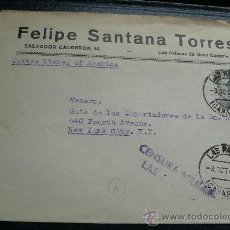 Sellos: ESPAÑA GUERRA CIVIL CARTA DE LAS PALMAS A USA CESURA DE LAS PALMAS. Lote 26475564