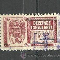 Sellos: 0395 DERECHOS CONSULARES 0.50 PTAS ORO ROJO. Lote 17284482
