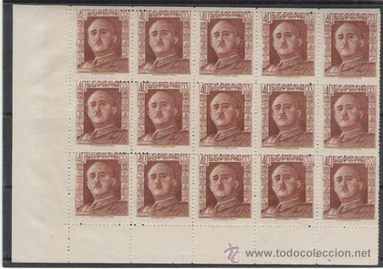BONITO BLOQUE DE 15 SELLOS DE SERIE NUEVA DE FRANCO DE 1942 BORDE DE HOJA (Sellos - España - Estado Español - De 1.936 a 1.949 - Usados)