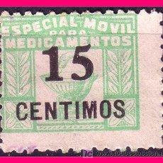 Sellos: ESPECIAL MÓVIL PARA MEDICAMENTOS, HABILITADO 15 CTS VERDE (*). Lote 20753054
