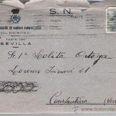 Sellos: CARTA DE SEVILLA A CONSTANTINA DE JULIO DE 1940.CON MEMBRETE SUBDELEGACIÓN DE SANIDAD FARMA-. Lote 22569534
