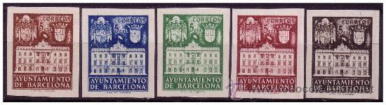 BARCELONA 1942 FACHADA DEL AYUNTAMIENTO, EDIFIL Nº 33S A 37S (*) MARGNÍFICA (Sellos - España - Estado Español - De 1.936 a 1.949 - Nuevos)