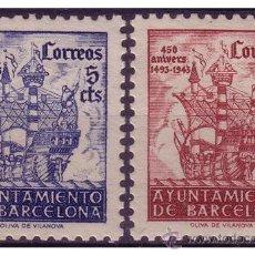Sellos: BARCELONA 1943 450 º ANIVERSARIO DE LA LLEGADA DE COLÓN, EDIFIL Nº SH51 Y SH52 * *. Lote 23346818